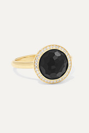 Lollipop 18-karat gold, onyx and diamond ring