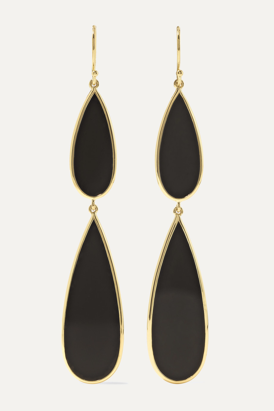 Ippolita Polished Rock Candy 18-karat gold onyx earrings