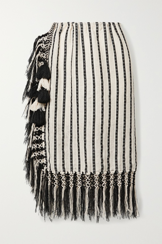 Jaline Nieves fringed tasseled cotton-gauze pareo