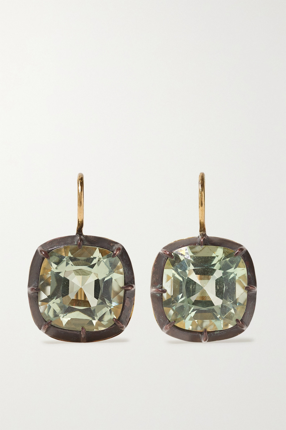 Fred Leighton Collection Ohrringe aus 18 Karat Gold und Silber mit Quarzen