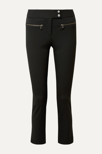 Veronica Beard Knits Metro cropped zip-embellished stretch-twill flared pants