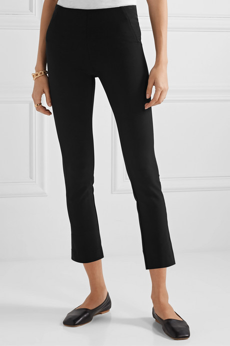 Cropped stretch-crepe skinny pants