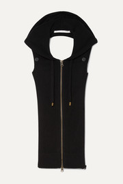 Hooded open-back cashmere vest
