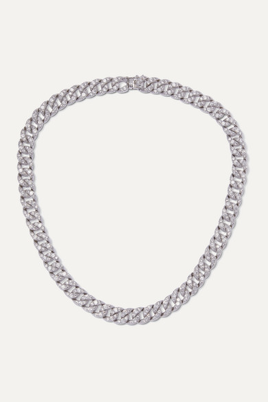 Kenneth Jay Lane - Silver-tone Crystal Necklace - one size