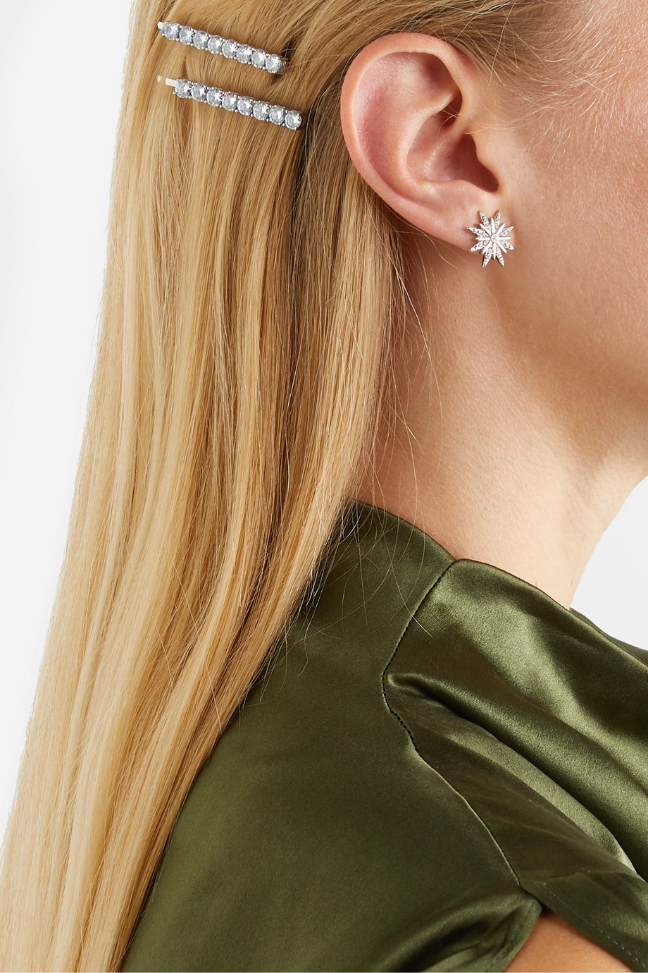Kenneth Jay Lane Silver-tone crystal hair slides