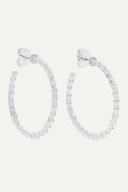 Kenneth Jay Lane Silver-tone cubic zirconia hoop earrings