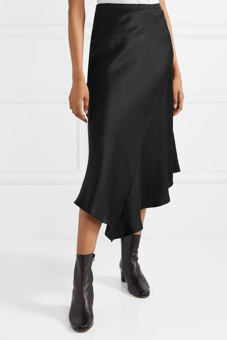 Bailey asymmetric silk-satin midi skirt