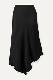 Bailey asymmetric silk-satin midi skirt