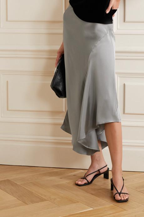 Bailey asymmetric silk-charmeuse midi skirt