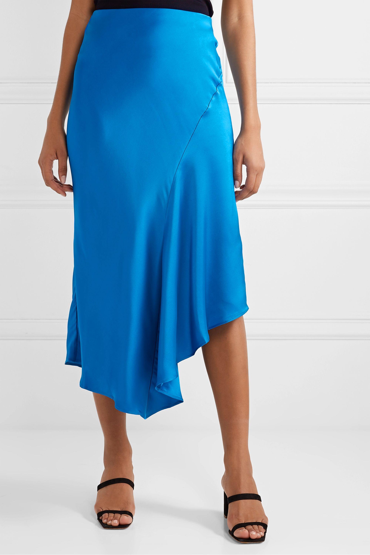 Anine Bing Bailey asymmetric silk-charmeuse midi skirt