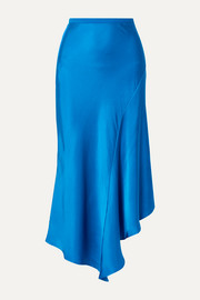 Bailey asymmetric silk-charmeuse midi skirt