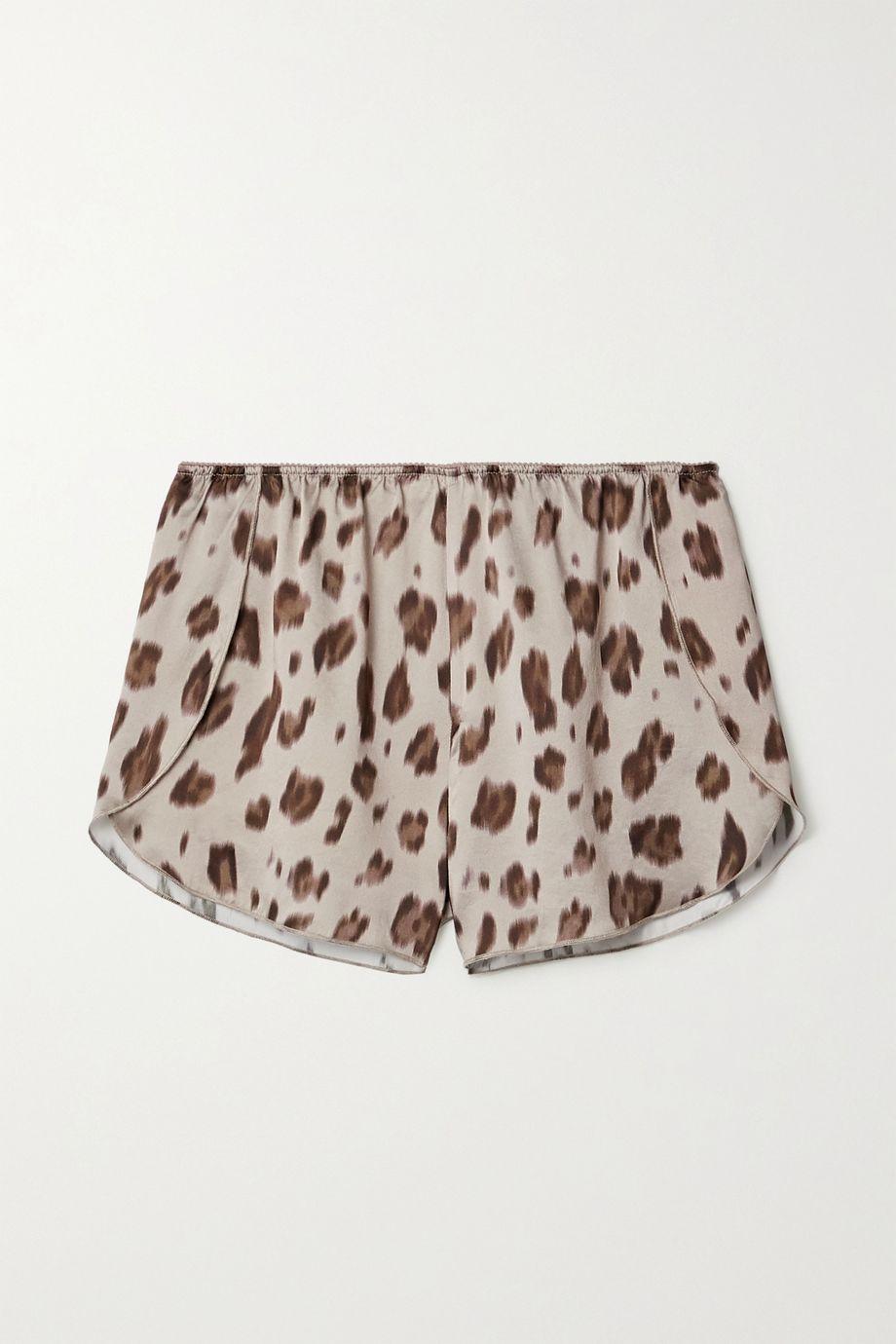 Anine Bing Jade leopard-print silk-satin pajama shorts