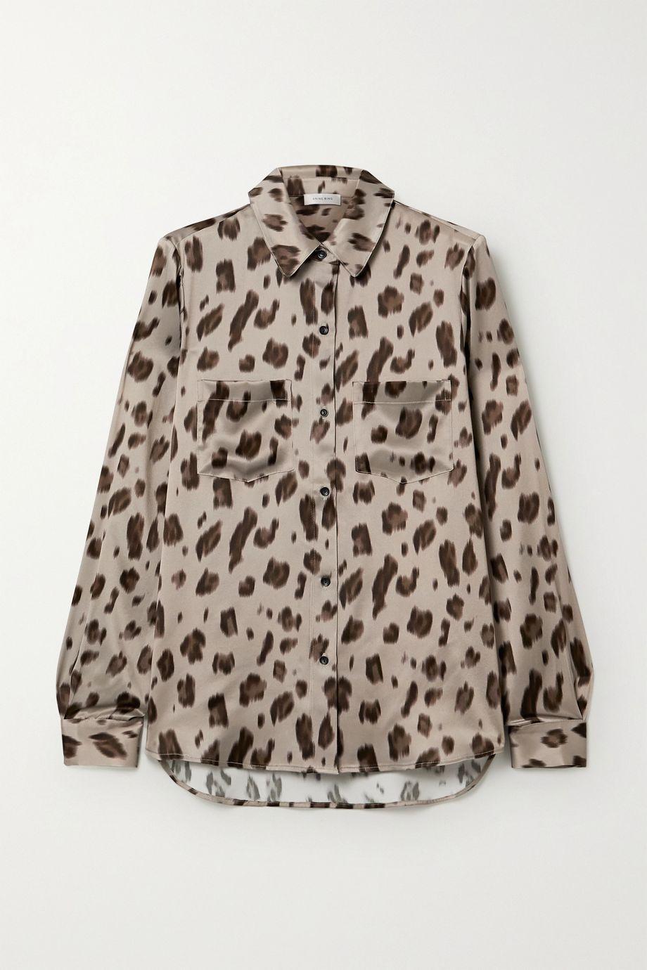 Anine Bing Vivienne leopard-print silk-satin shirt