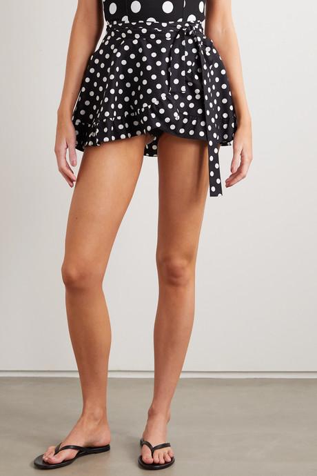 Ruffled polka-dot cotton-blend wrap mini skirt