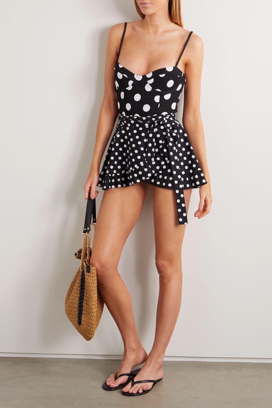 Caroline Constas Ruffled polka-dot cotton-blend wrap mini skirt