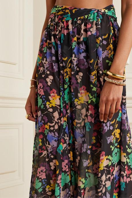 Hera floral-print chiffon maxi skirt