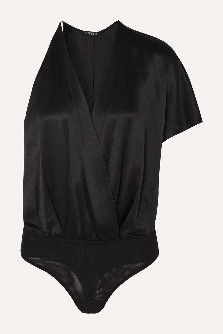 Cushnie One-sleeve wrap-effect silk-charmeuse bodysuit
