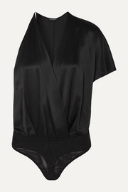 Cushnie One-sleeve wrap-effect silk-charmeuse bodysuit