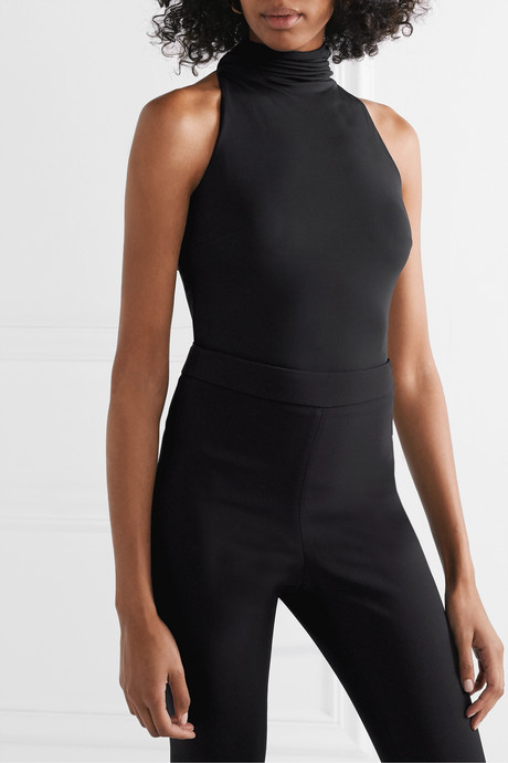 Open-back stretch-crepe thong bodysuit