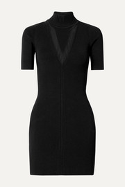 Cushnie Ribbed stretch-knit turtleneck mini dress