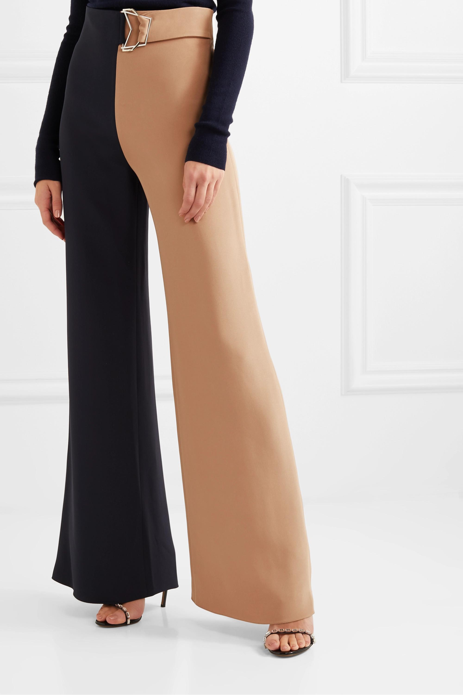 Cushnie Zweifarbige Hose mit weitem Bein aus Seiden-Crêpe mit Gürtel