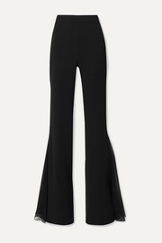 Cushnie Silk chiffon-trimmed stretch-cady flared pants