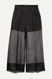 Cushnie Cropped silk-organza and crepe wide-leg pants