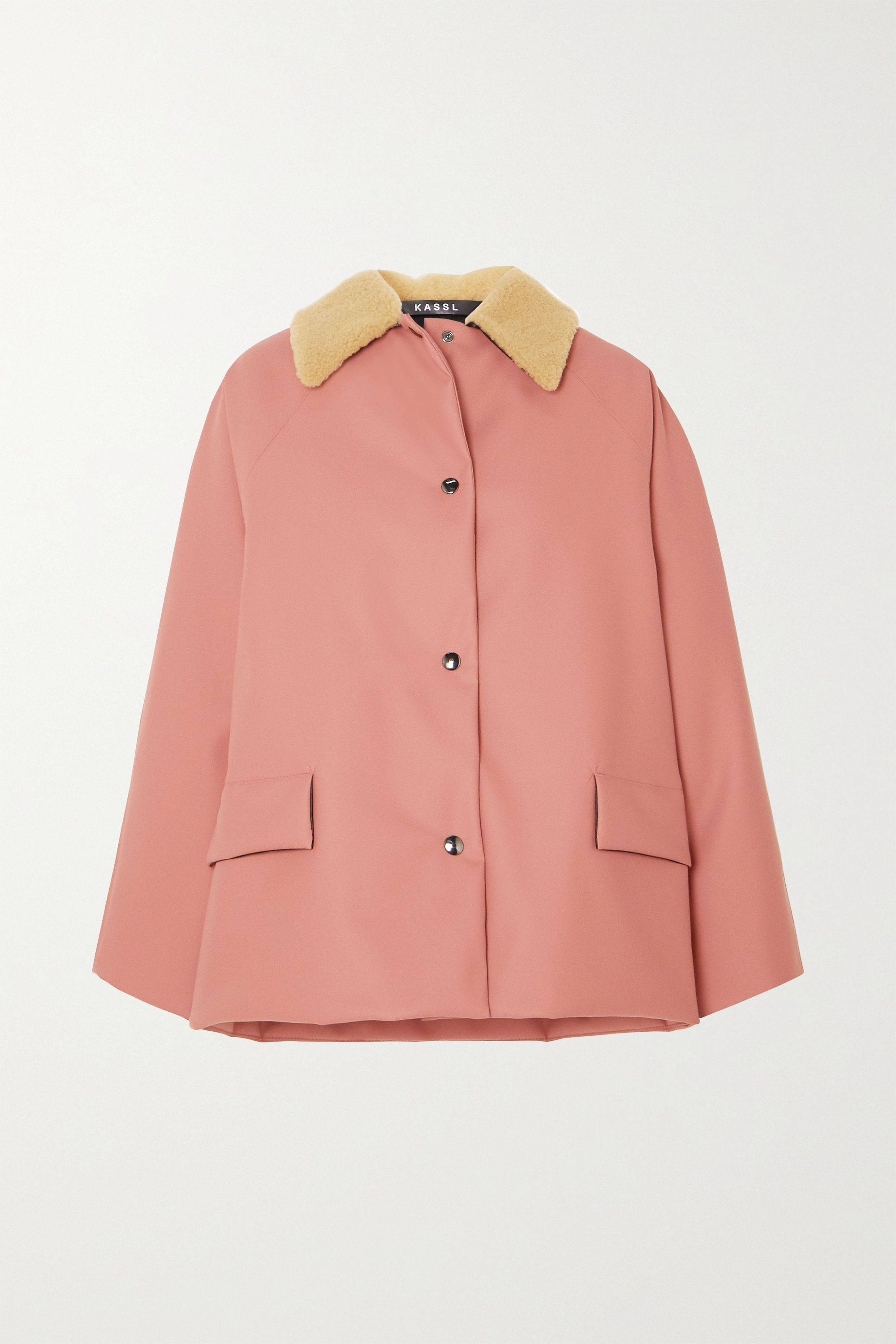 Kassl Editions Shearling-trimmed padded rubber coat