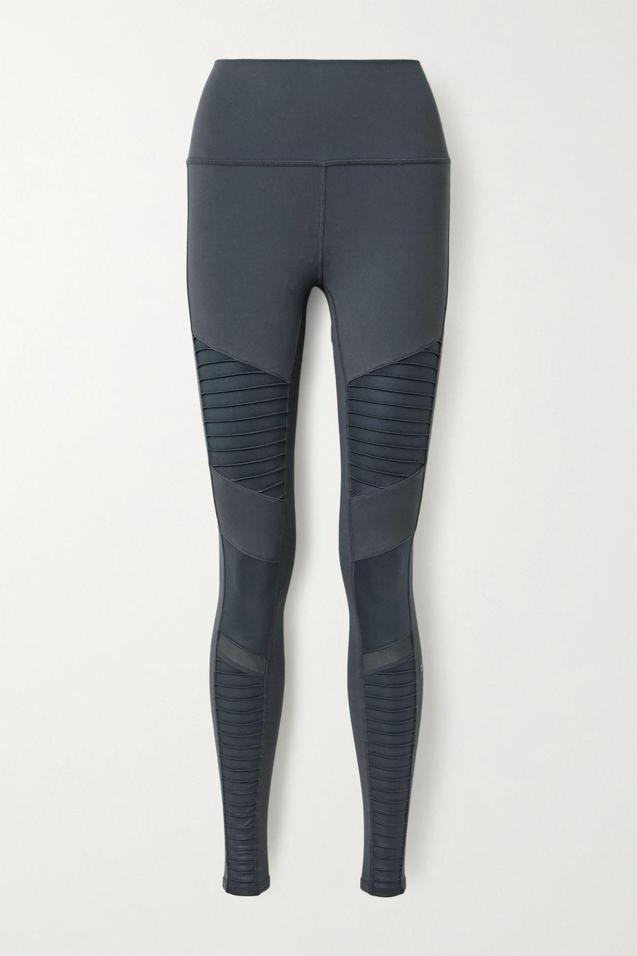 Alo Yoga Moto mesh-trimmed stretch leggings
