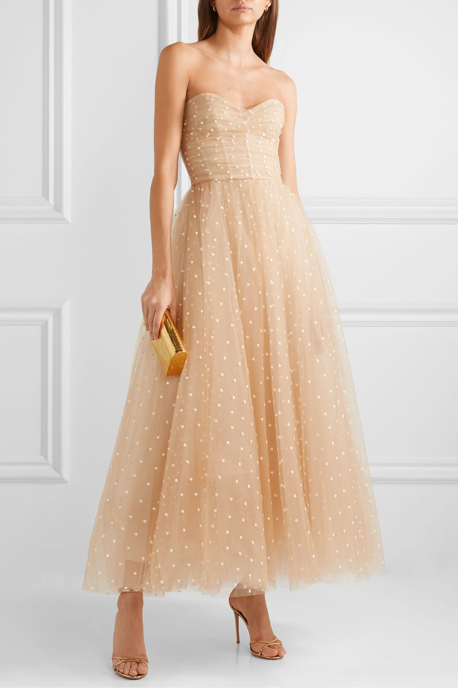 Monique Lhuillier Embroidered tulle gown