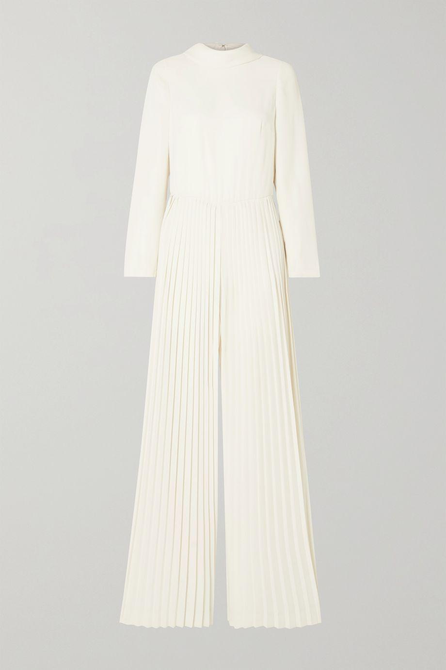 Monique Lhuillier Pleated crepe jumpsuit