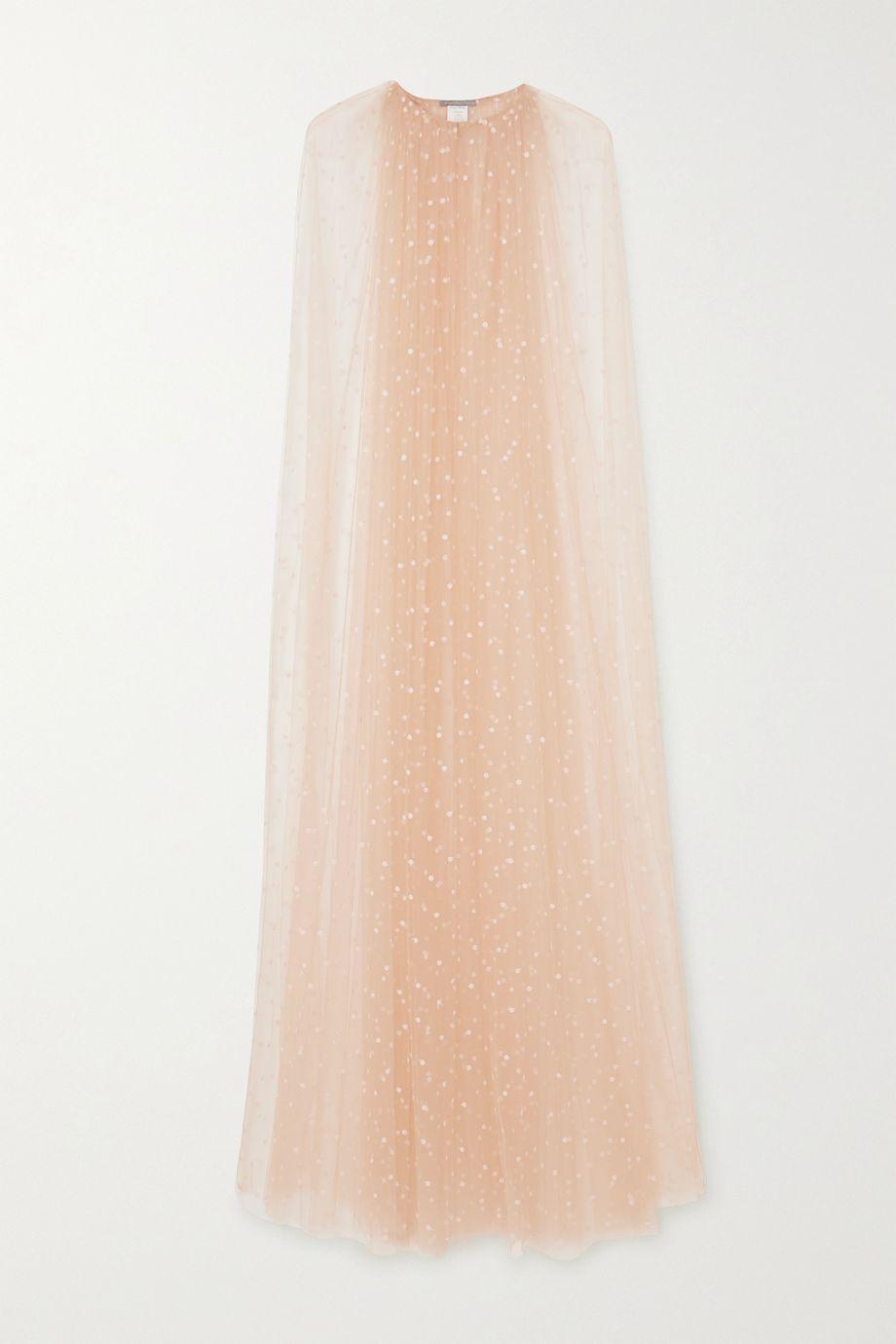 Monique Lhuillier Embroidered tulle cape