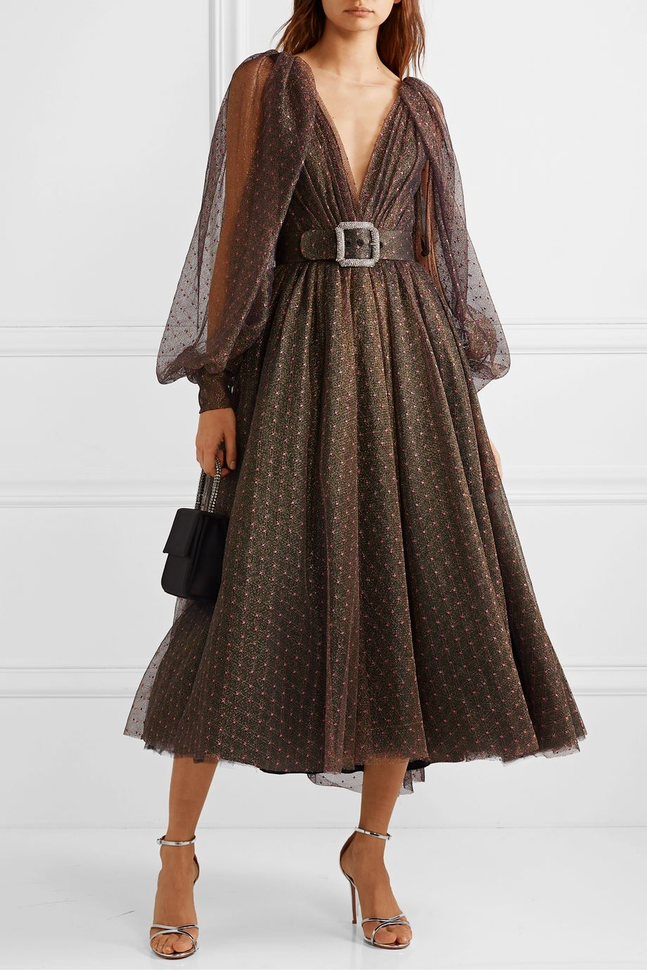 Monique Lhuillier Belted embroidered metallic tulle midi dress