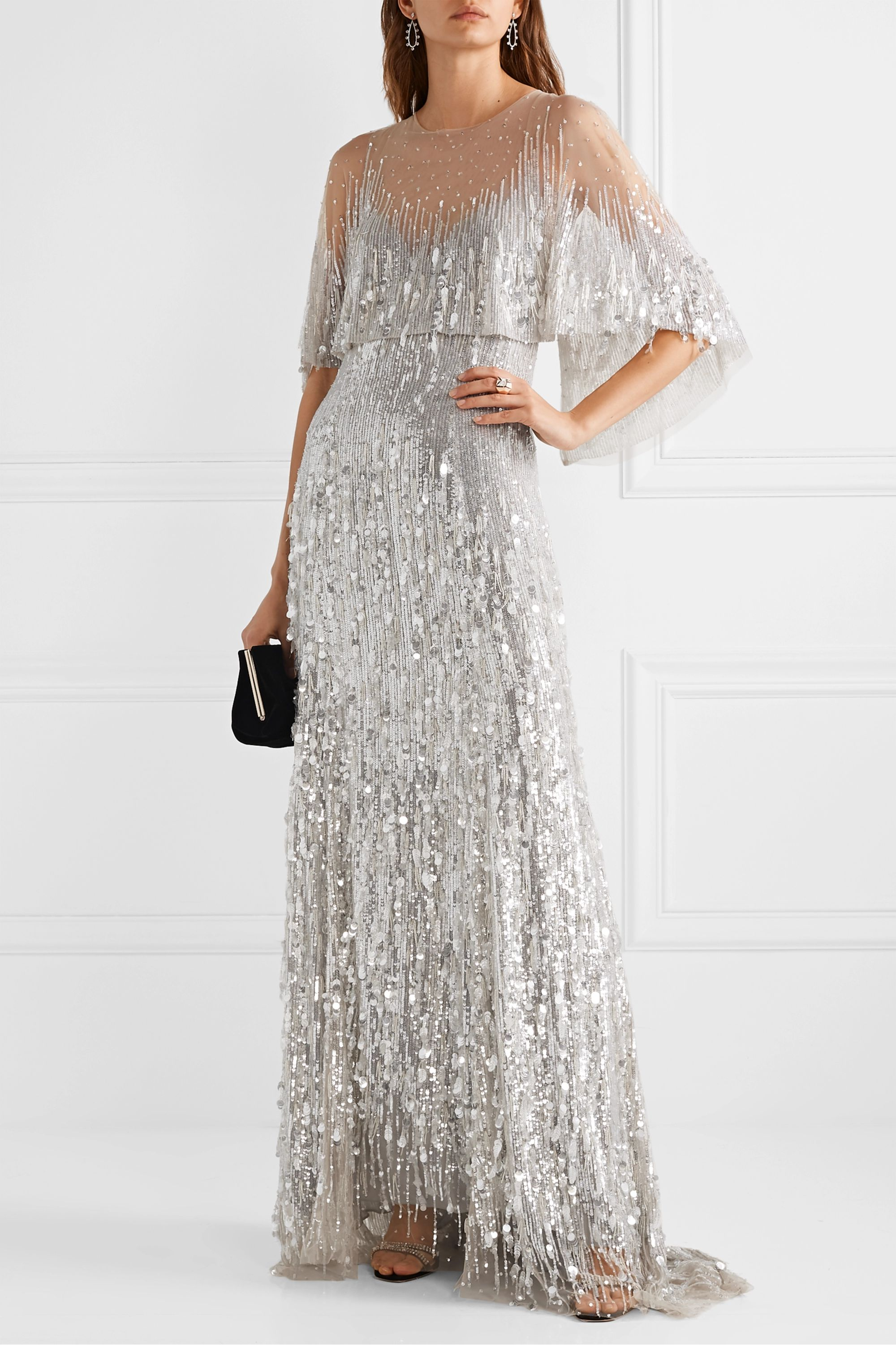 Monique Lhuillier Layered embellished tulle gown