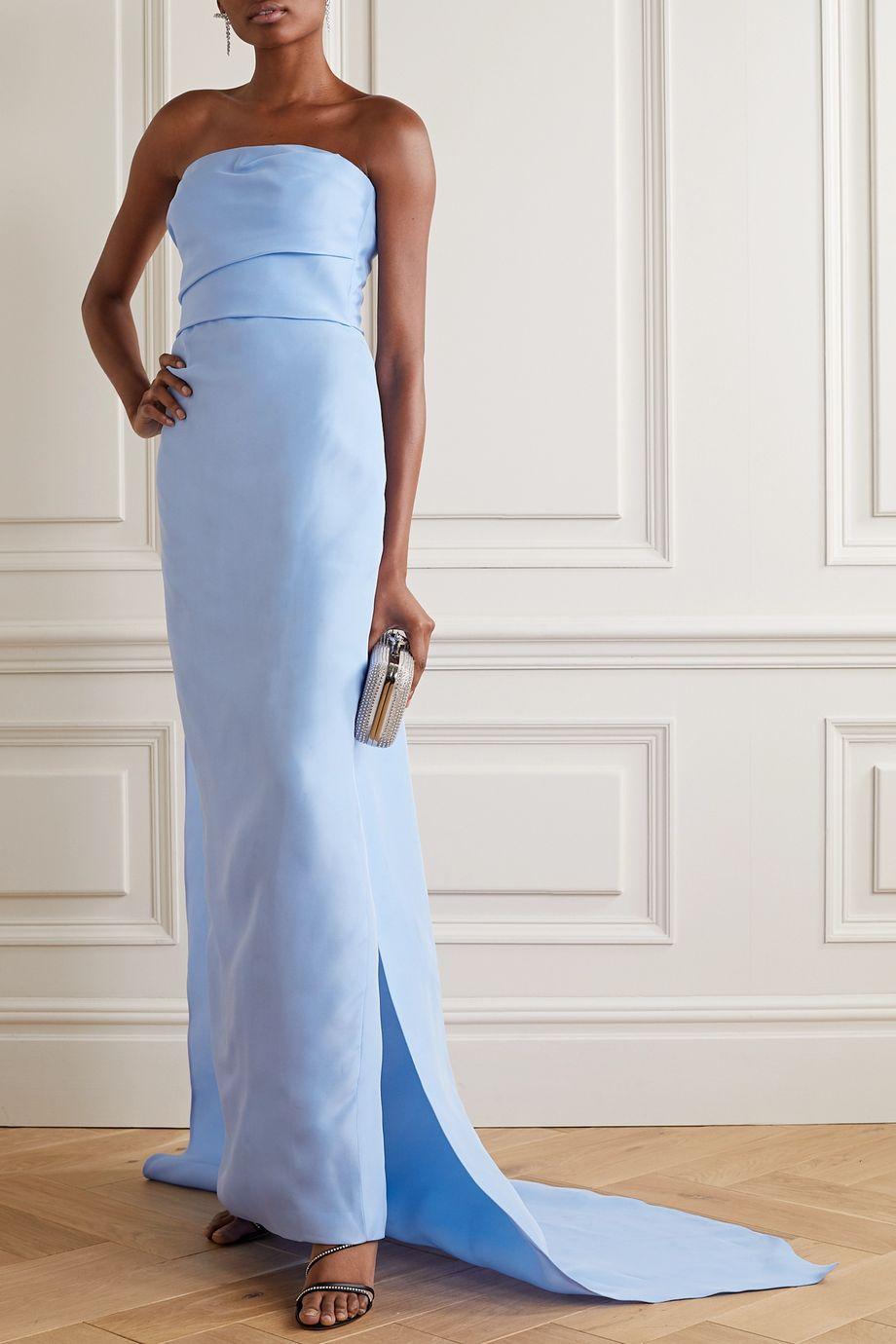 Monique Lhuillier Strapless draped silk-gazar gown