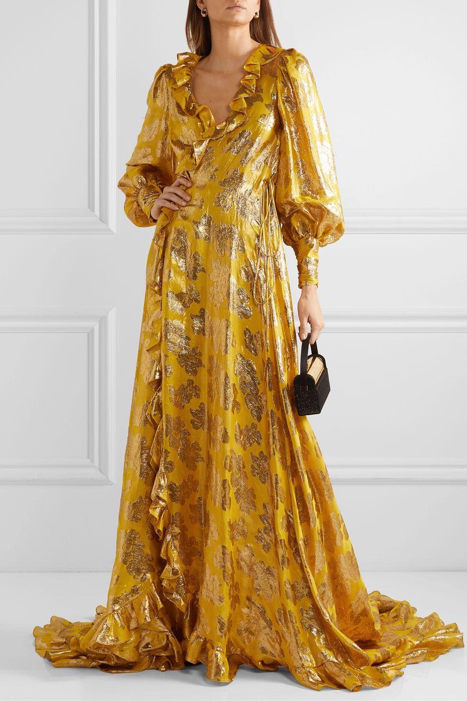Monique Lhuillier Ruffled metallic silk-blend jacquard wrap gown