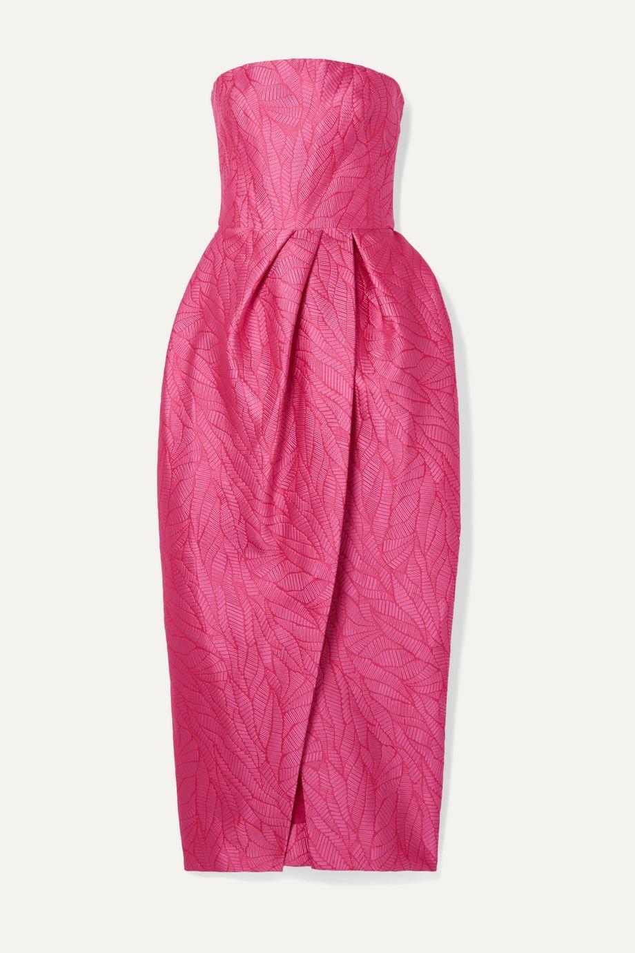 Monique Lhuillier Strapless jacquard midi dress