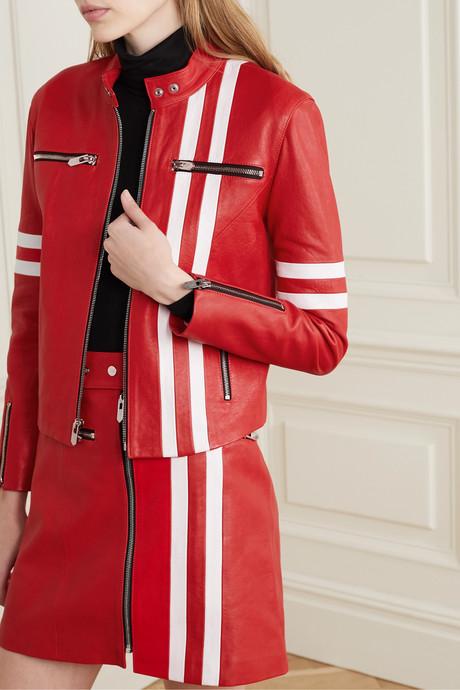 The Ferrara striped leather biker jacket