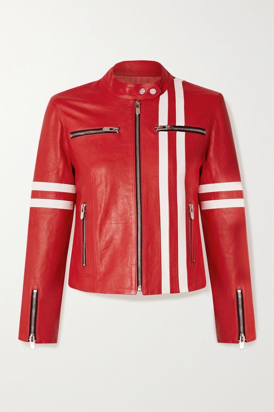unknown The Ferrara striped leather biker jacket