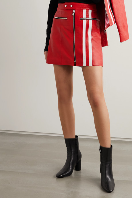 The Ferrara striped leather skirt
