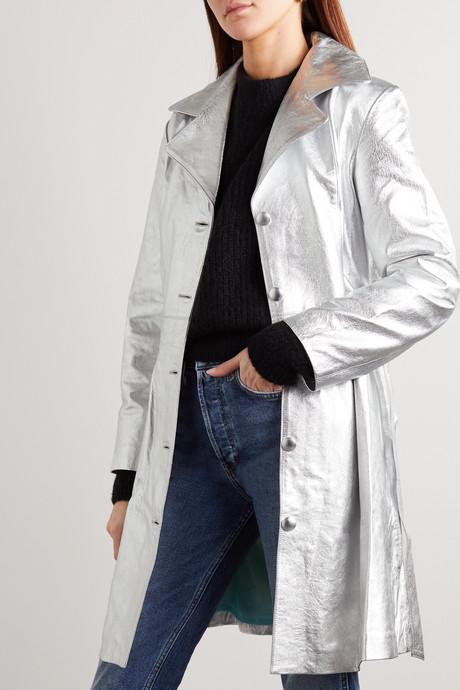 The Highbridge belted metallic leather jacket