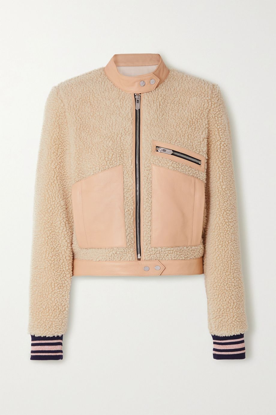 The Mighty Company The Rugby leather-trimmed faux shearling biker jacket