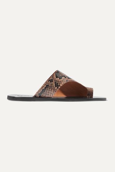 Atp Atelier Sandals Rosa cutout snake-effect leather sandals
