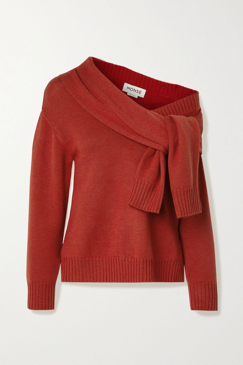 Monse Asymmetric tie-front merino wool sweater