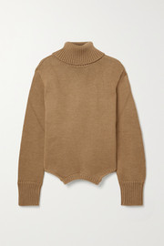 Upside Down oversized cutout merino wool turtleneck sweater