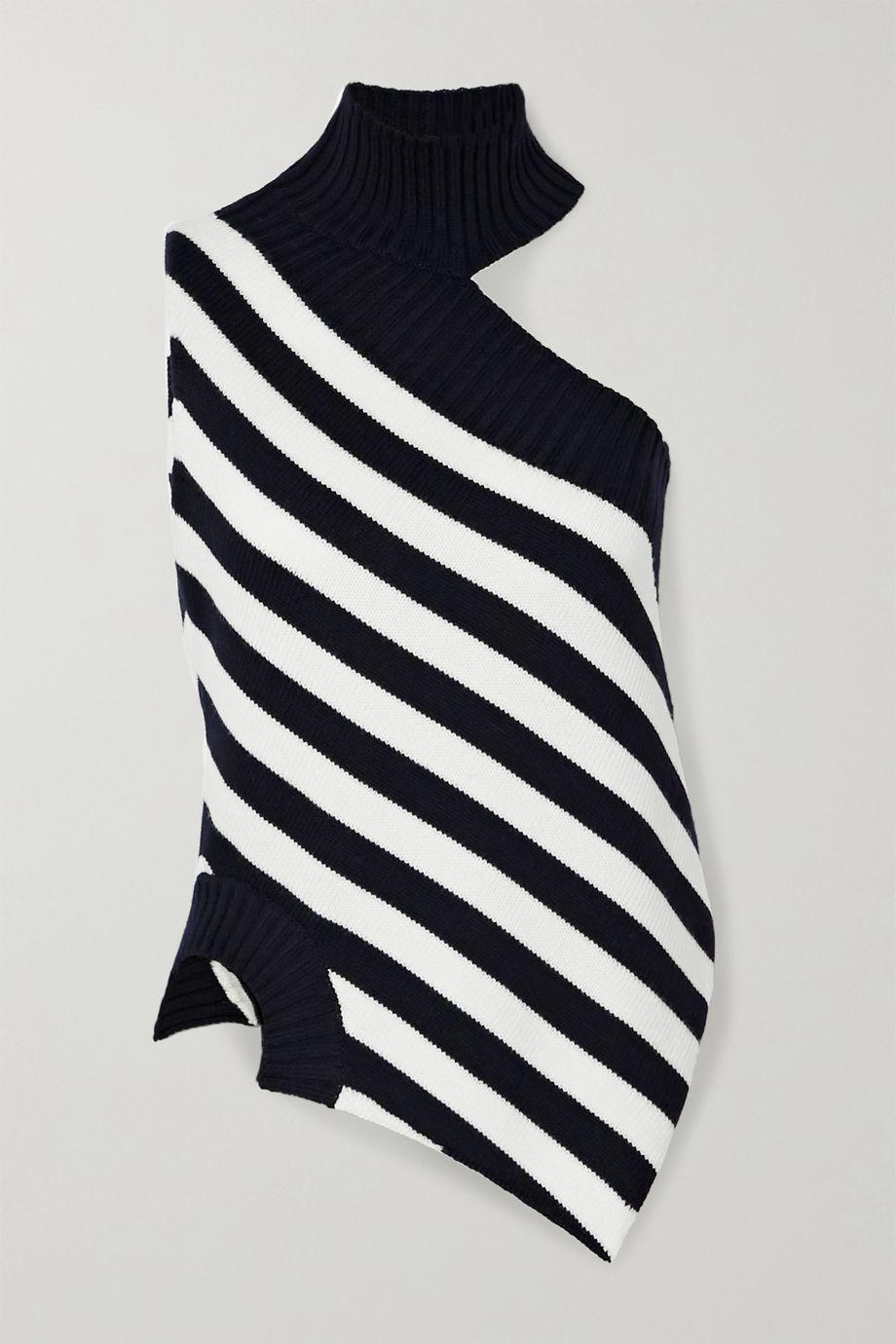 Monse One-shoulder striped merino wool turtleneck sweater