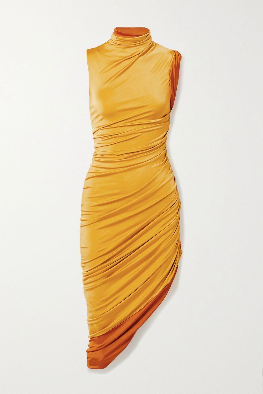 Monse Ruched stretch-jersey turtleneck dress