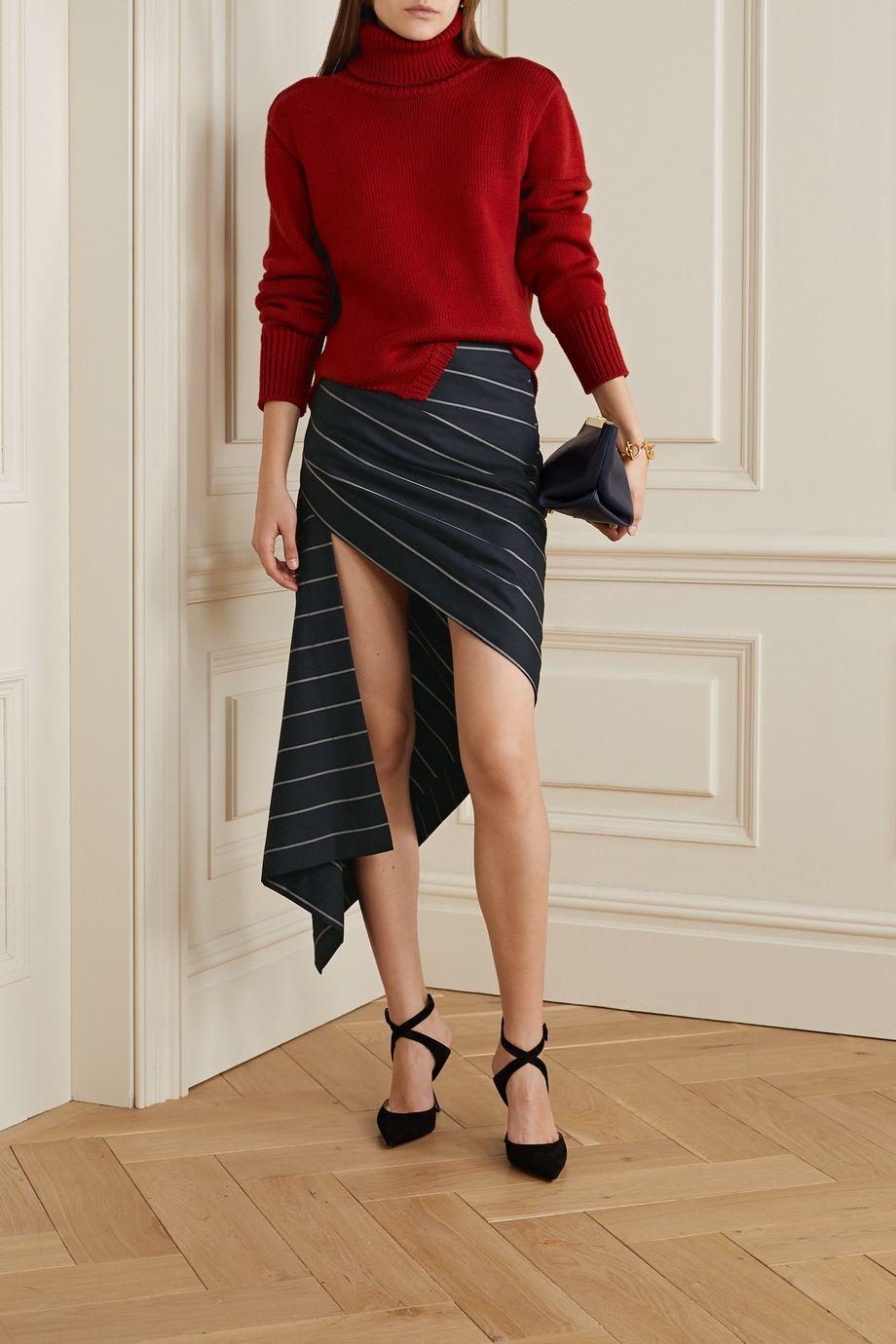Monse Asymmetric draped striped wool-twill skirt