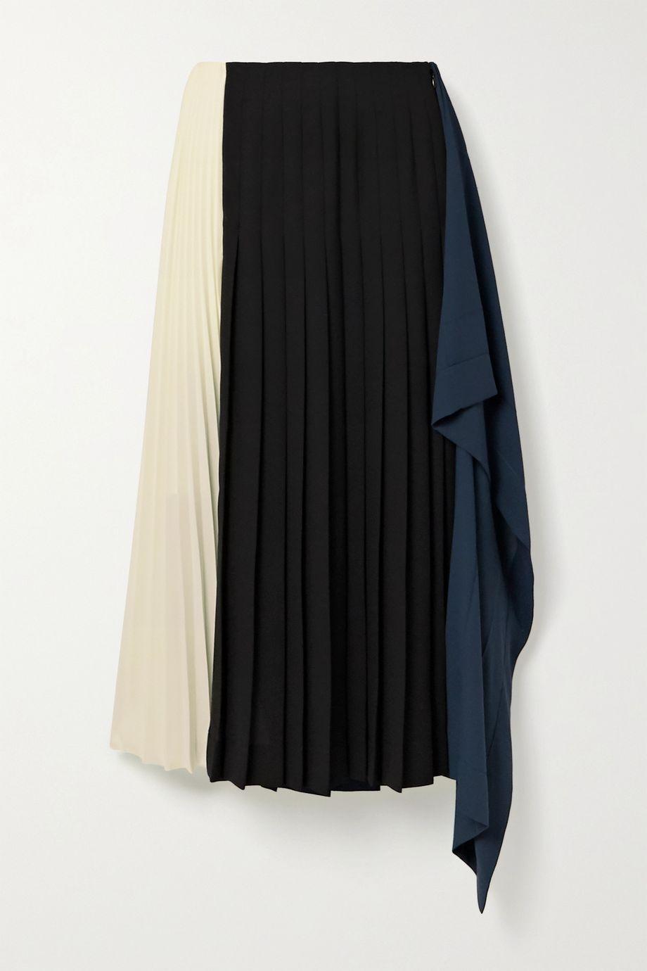 Monse Draped pleated color-block crepe midi skirt