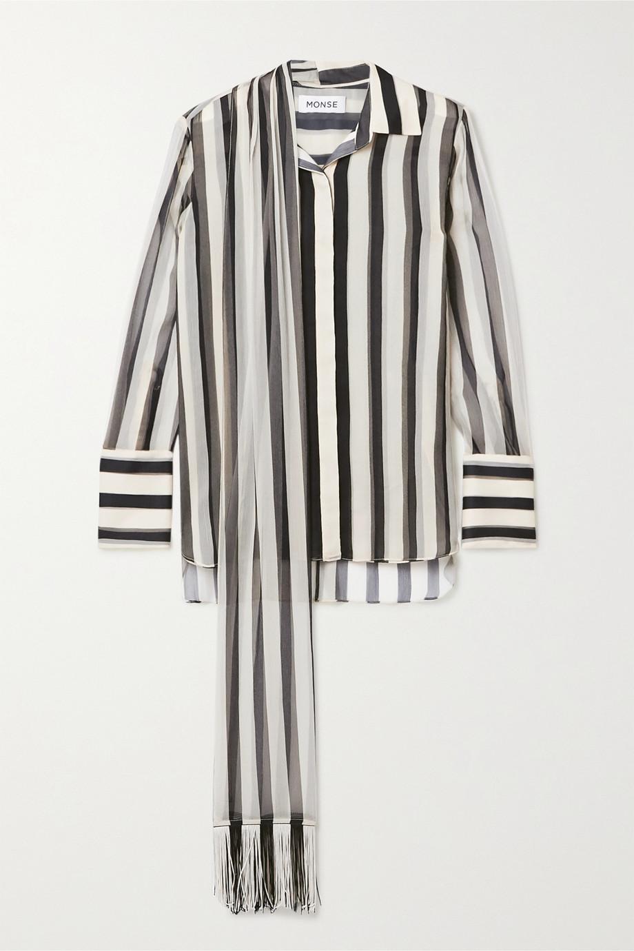Monse Fringed tie-neck striped plissé silk-chiffon shirt